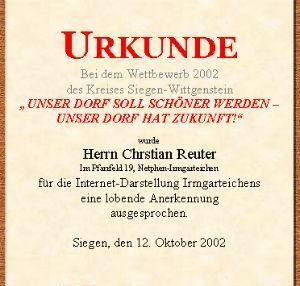 Urkunde für Internet-Darstellung Irmgarteichens durch Kreis Siegen-Wittgenstein