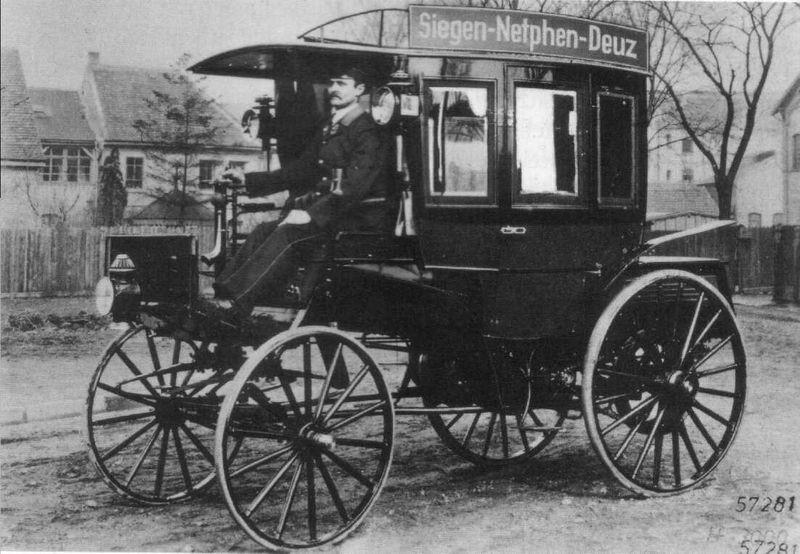 """Eine Weltpremiere vor 125 Jahren: Zwischen Deuz und Siegen wurde am 18. März 1895 eine Motoromnibuslinie eröffnet mit einem """"Pferde scheu machenden Stinkwagen"""""""