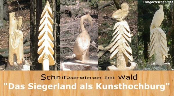 Schnitzereien im Wald