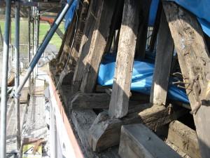 Bauarbeiten am Kirchturm der Pfarrkirche St. Cäcilia Irmgarteichen