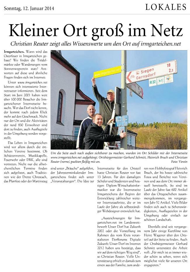 """Siegerländer Wochenanzeiger: """"Kleiner Ort groß im Netz"""""""