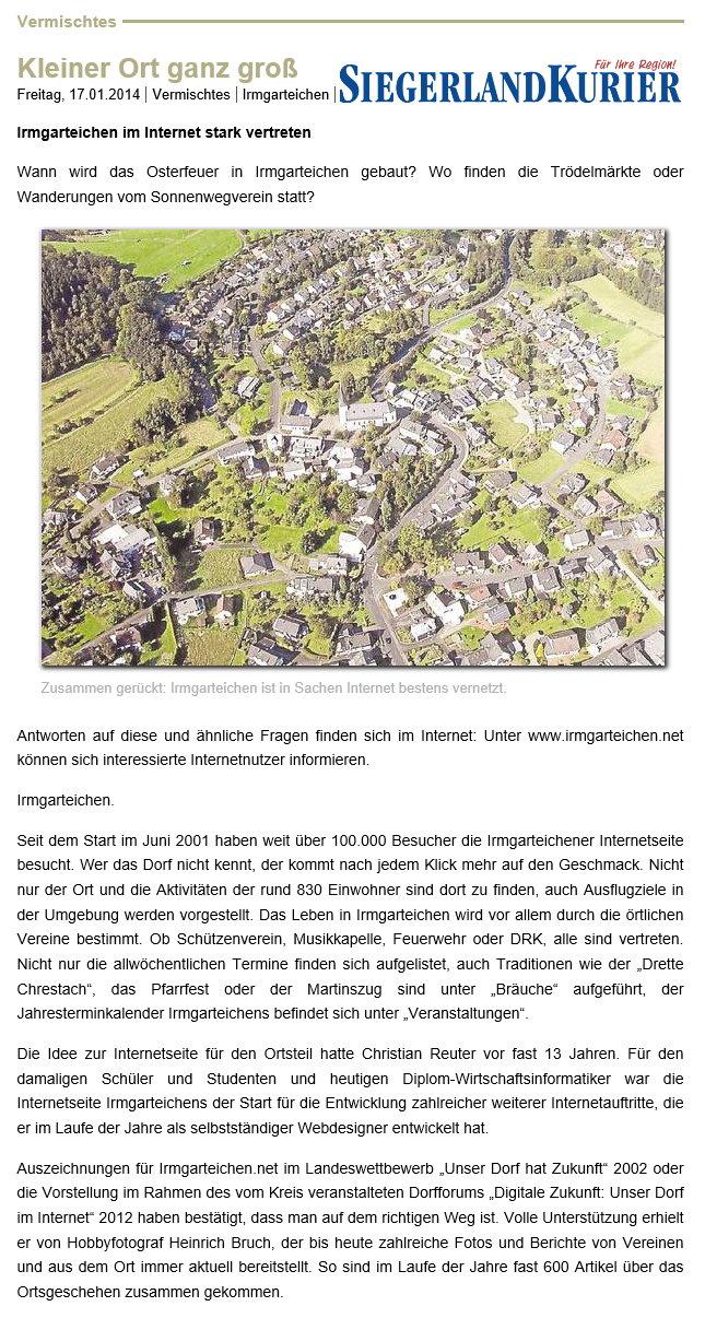 """Siegerlandkurier: """"Kleiner Ort ganz groß"""""""