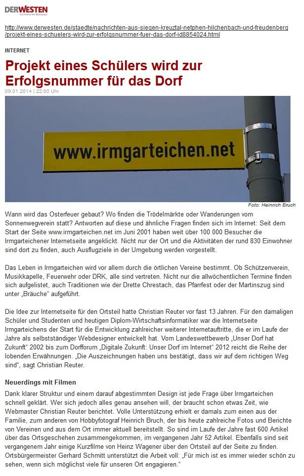 """Westfalenpost: """"Projekt eines Schülers wird zur Erfolgsnummer für das Dorf"""""""