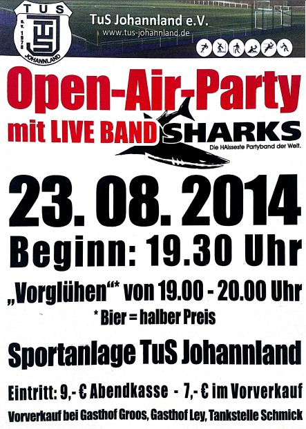 Open-Air-Party des TuS-Johannland mit Live Band Sharks